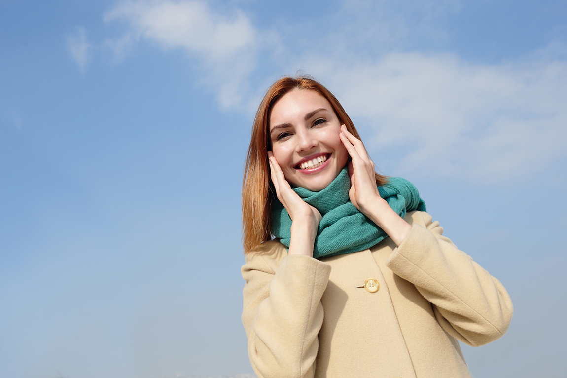 happy young travel woman with sky background, caucasian beauty